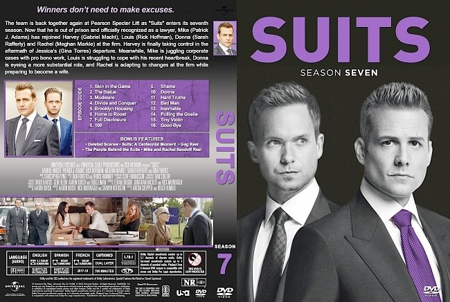 dvd cover Suits – Season 7 (2018) R1 Custom DVD Cover & Labels