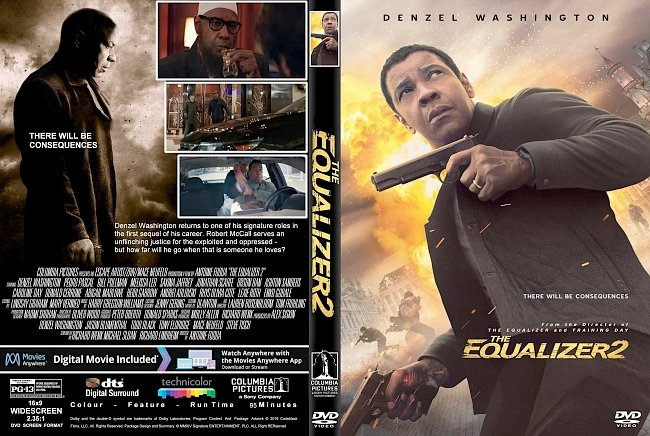 dvd cover The Equalizer 2 (2018) R1 CUSTOM DVD Cover & Label