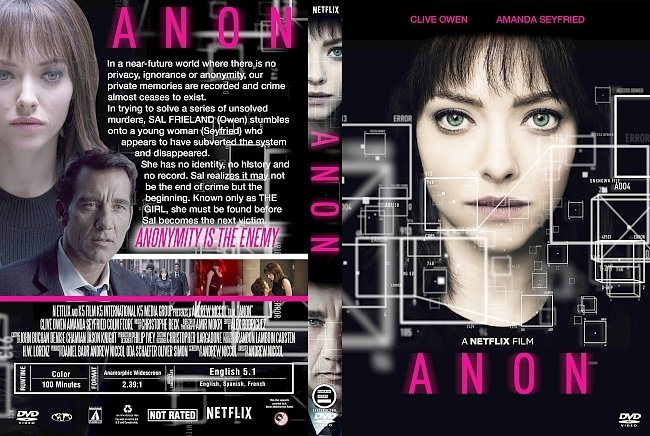 dvd cover Anon (2018) R1 Custom DVD Cover