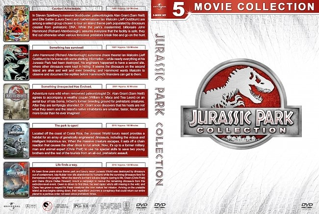 dvd cover Jurassic Park Collection (5) (1993-2018) R1 Custom DVD Cover