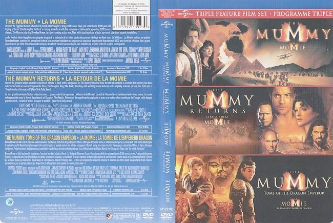 dvd cover The Mummy Trilogy (1999-2008) R1 DVD Canadian Bilingual