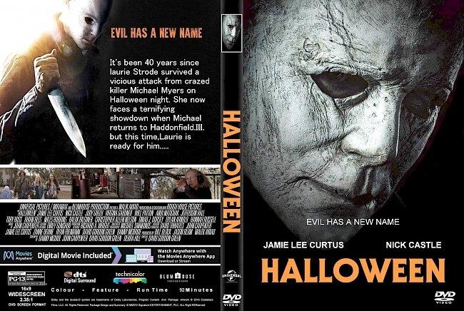 dvd cover Halloween (2018) R1 CUSTOM DVD Cover & Label