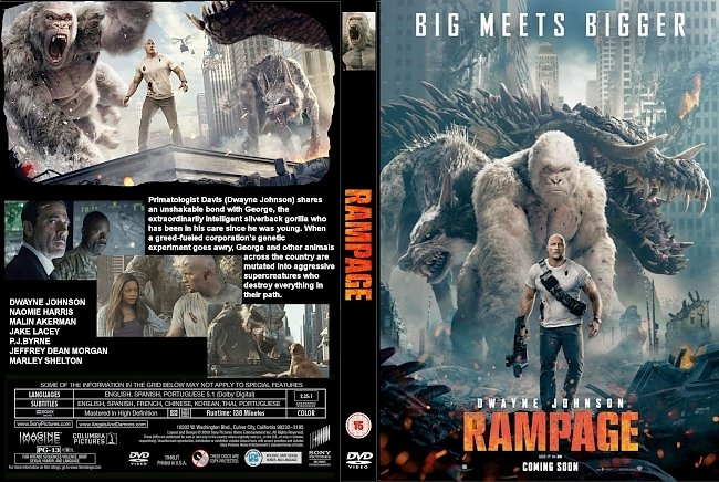dvd cover Rampage (2018) R0 CUSTOM DVD Cover & Label