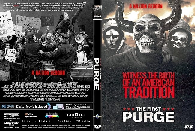 dvd cover First Purge (2018) R1 CUSTOM DVD Cover & Label