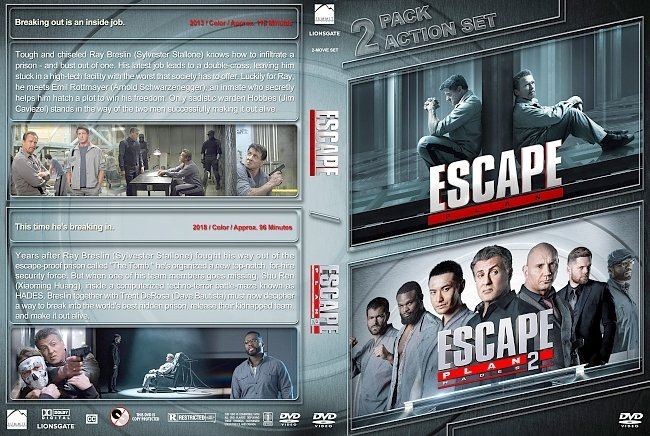 dvd cover Escape Plan Double Feature (2013-2018) R1 Custom DVD Cover