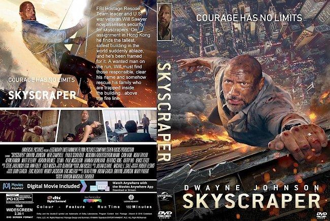 dvd cover Skyscraper (2018) R1 CUSTOM DVD Cover & Label