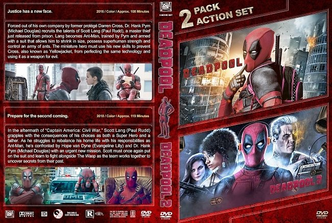 dvd cover Deadpool Double Feature (2016-2018) R1 Custom DVD Cover