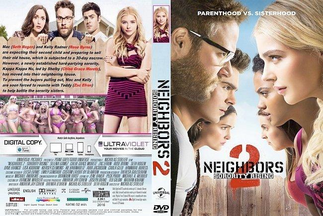 dvd cover Neighbors 2: Sorority Rising (2016) R1 CUSTOM DVD Cover & Label