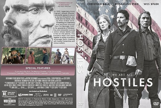 dvd cover Hostiles (2017) R1 Custom DVD Cover & Label