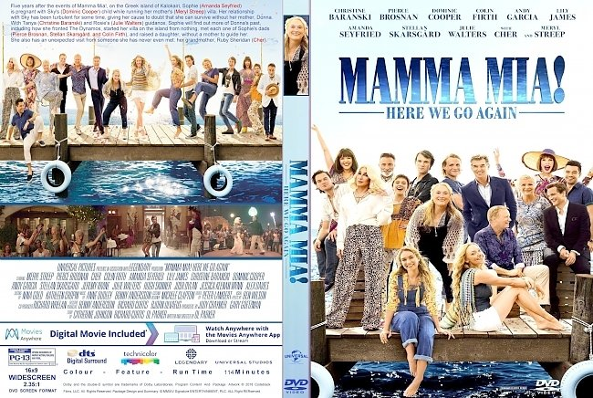 dvd cover Mamma Mia: Here We Go Again (2018) R1 CUSTOM DVD Cover & Label