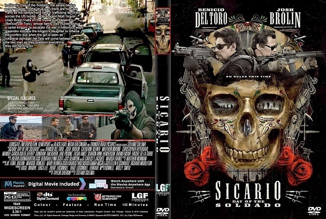dvd cover Sicario: Day Of The Soldado (2018) R1 CUSTOM DVD Cover & Label