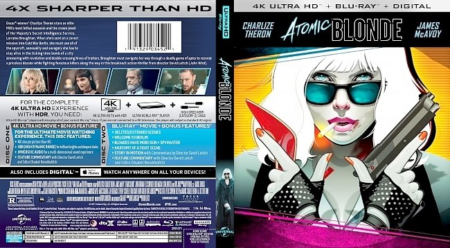 dvd cover Atomic Blonde 4k Bluray Cover
