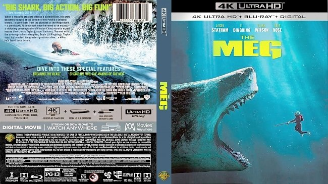 dvd cover The Meg 4k Bluray Cover