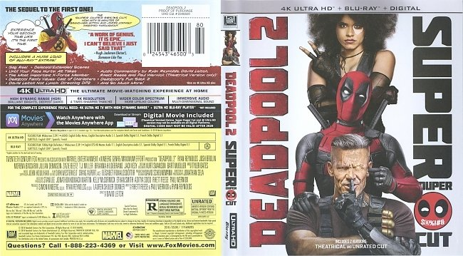 dvd cover Deadpool 2 4k Bluray Cover