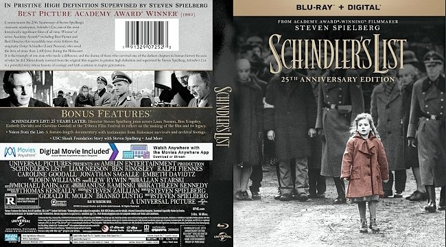 dvd cover Schindlers List - 25th Anniversary Edition Bluray Cover
