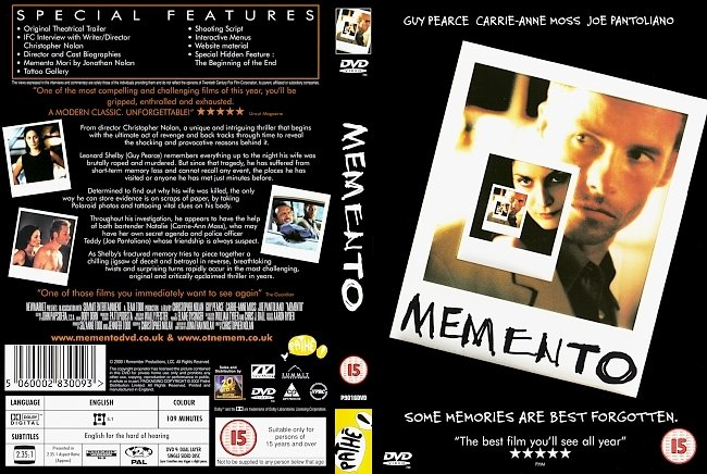dvd cover Memento DVD Cover
