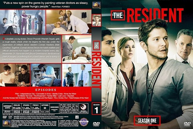 dvd cover The Resident Season 1 DVD Cover