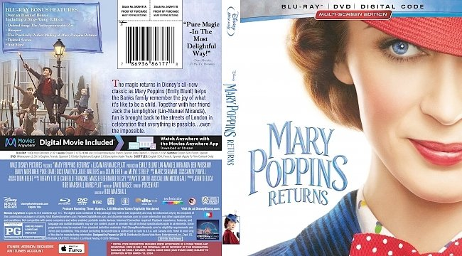 dvd cover Mary Poppins Returns Bluray Cover