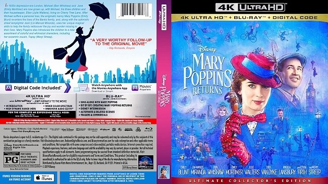 dvd cover Mary Poppins Returns 4K Bluray Cover