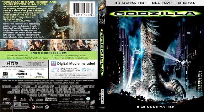 dvd cover Godzilla (1998) 4k UHD Bluray Cover