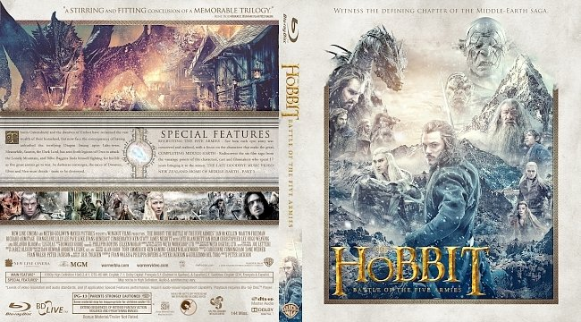 dvd cover The Hobbit: The Battle of the Five Armies Bluray Cover