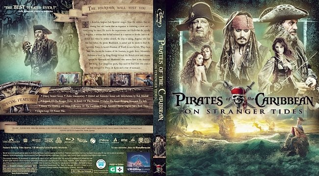 dvd cover Pirates of the Caribbean: On Stranger Tides Bluray Cover
