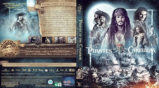 dvd cover Pirates of the Caribbean: The Curse of the Black Pearl Bluray Cover