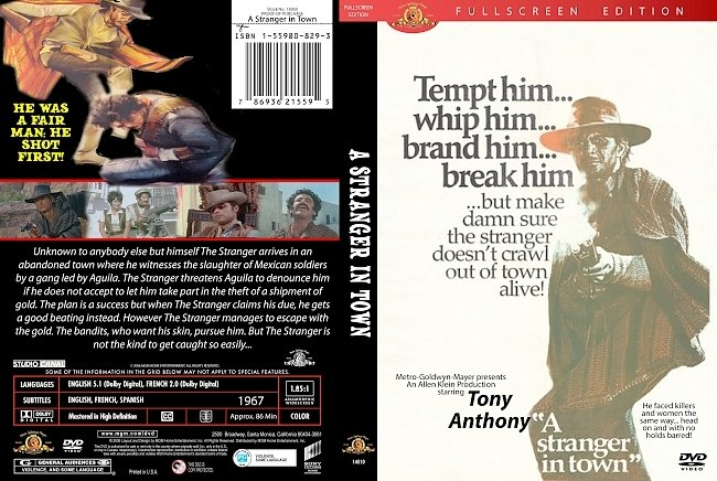 dvd cover A Stranger In Town 1967