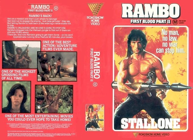 dvd cover Rambo First Blood Part II 1985 WS R4 Original V.H.S. Dvd Cover