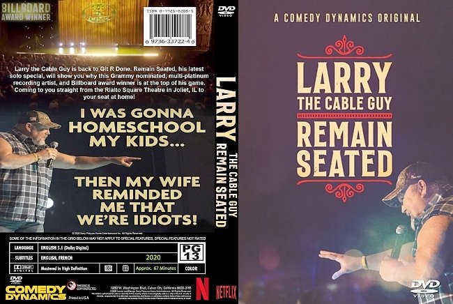 dvd cover Larry The Cable Guy- Remain Seated 2020 Dvd Cover