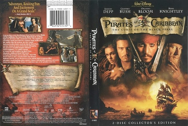 dvd cover Pirates Of The Caribbean - The Curse Of The Black Pearl 2003 Dvd Cover