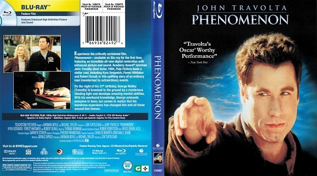 dvd cover Phenomenon 1996 Dvd Cover