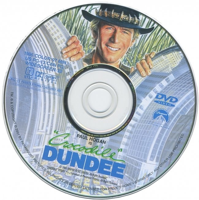 dvd cover Crocodile Dundee 1986 R1 Disc Dvd Cover