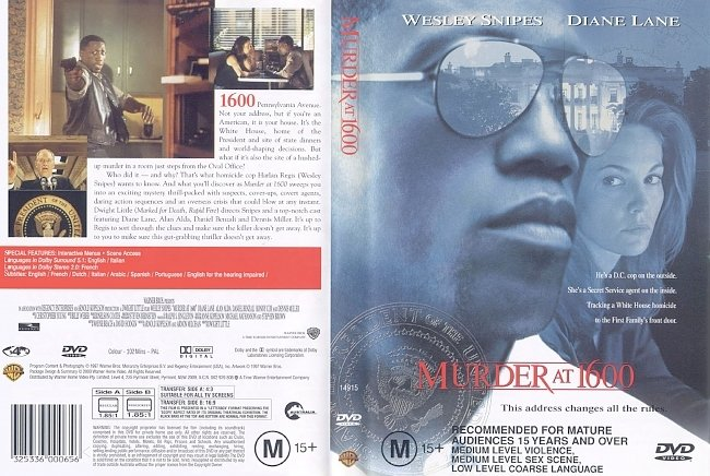 dvd cover Murder At 1600 1997 Dvd Cover