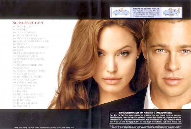 dvd cover Mr & Mrs Smith 2005 R4 Inlay Dvd Cover