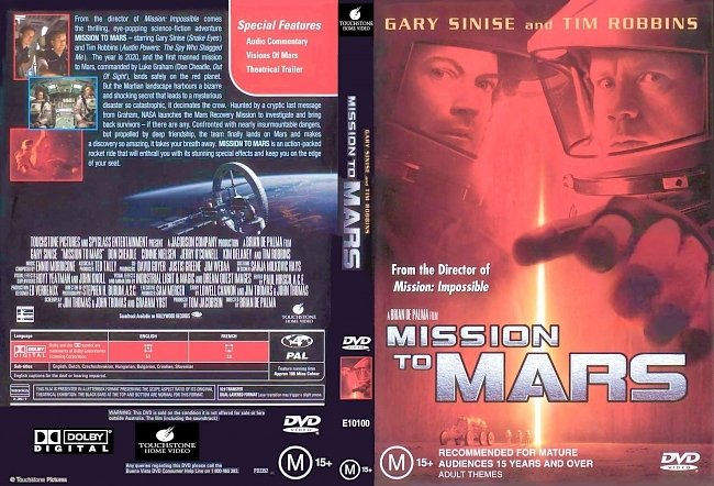 dvd cover Mission To Mars 2000 Dvd Cover