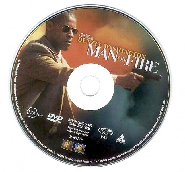 dvd cover Man On Fire 2004 Disc Label Dvd Cover