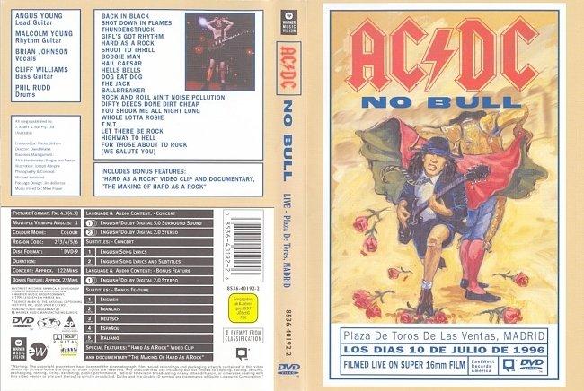 dvd cover AC/DC - No Bull Live - Plaza De Tores, Madrid 2000 Dvd Cover