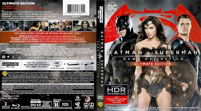 dvd cover Batman V Superman - Dawn Of Justice - Ultimate Edition 2016 Dvd Cover
