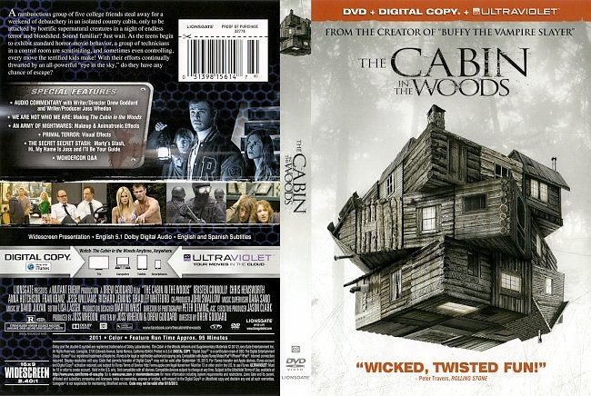 dvd cover The Cabin In The Woods 2011 Dvd Cover