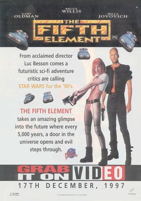 dvd cover The Fifth Element 1997 Original R4 V.H.S. Dvd Cover