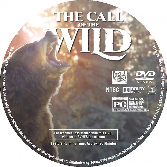 dvd cover Call Of The Wild 2020 R1 DVD Label Custom Dvd Cover
