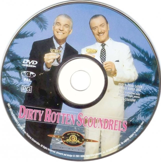 dvd cover Dirty Rotten Scoundrels 1988 Disc Label Dvd Cover