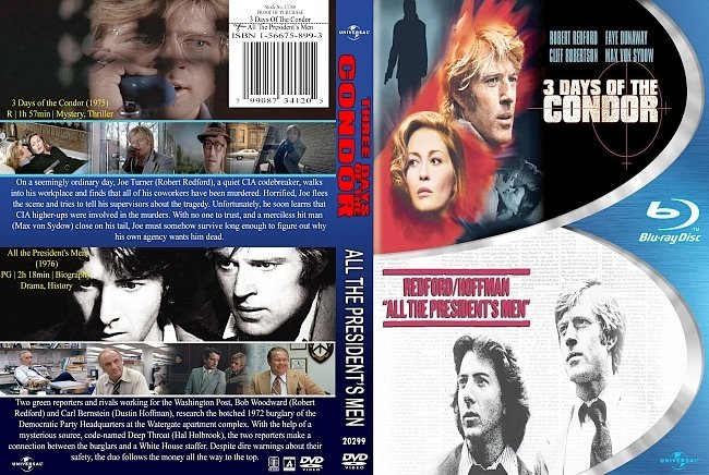 dvd cover 3 Days Of The Condor And All The President's Men Double Feature 1975-76 Dvd Cover