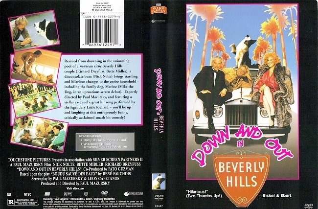 dvd cover Down And Out In Beverly Hills 1986 R1 Dvd Cover