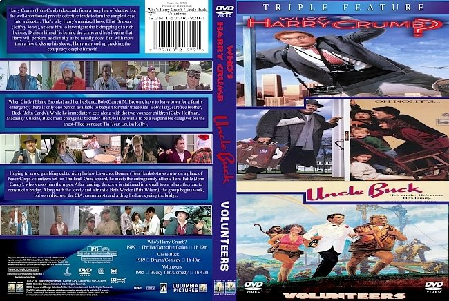 dvd cover John Candy _Whos_Harry_Crumb___Uncle_Buck___Volunteers Triple Feature 1989. Dvd Cover