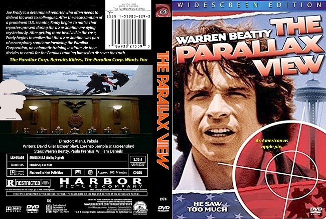 dvd cover The Parallax View 1974 Dvd Cover