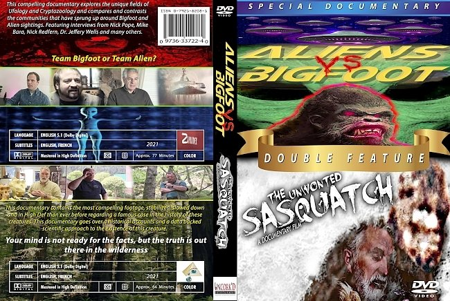 dvd cover Aliens Vs. Bigfoot - The Unwonted Sasquatch Double Feature 2021 Dvd Cover