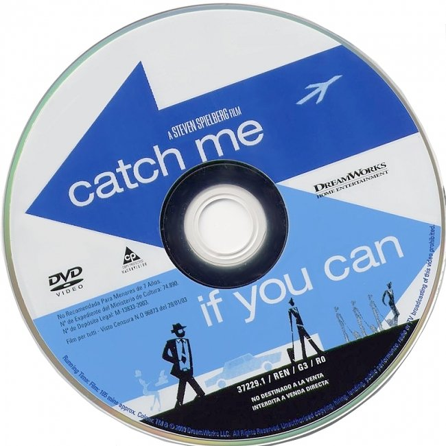 dvd cover Catch Me If You Can 2002 R1 Disc 1 Dvd Cover