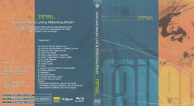 dvd cover RPWL - God Has Failed- Live & Personal 2021 Dvd Cover